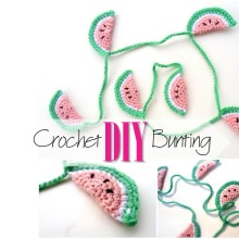 Blog thumbnail - DIY Crochet Watermelon bunting